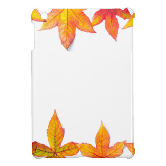 Colorful fall leaves framework on white case for the iPad mini