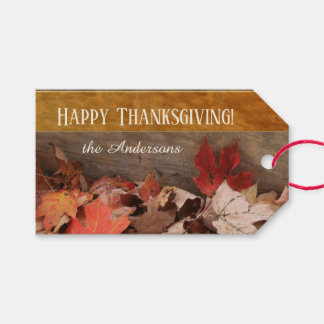 Colorful Fall Leaves Happy Thanksgiving Gift Tag
