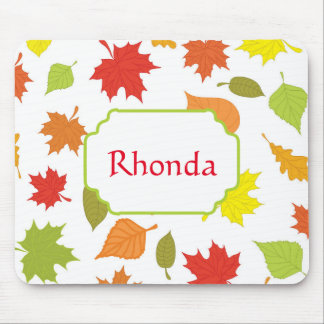 Colorful Fall Leaves Mouse Pad