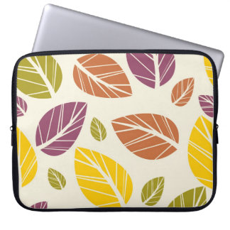 Colorful Fall Leaves Purple Maroon Yellow Green Laptop Sleeve
