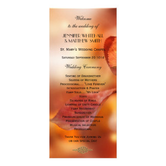 Colorful Fall Leaves Wedding Program Template Rack Card