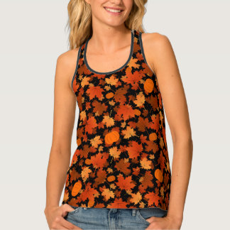 colorful fall maple leaves and pumpkins pattern singlet