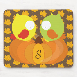 Colorful Fall Owls Monogrammed Mouse Pad