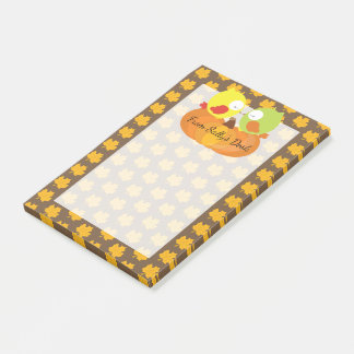 Colorful Fall Owls Personalized Post-it Notes