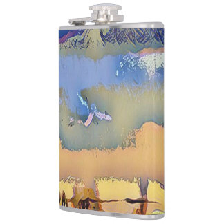 Colorful Fall Toned Abstract Horizon Sky Hip Flask