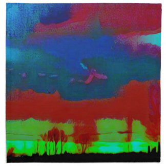 Colorful Fall Toned Abstract Horizon Sky Napkin