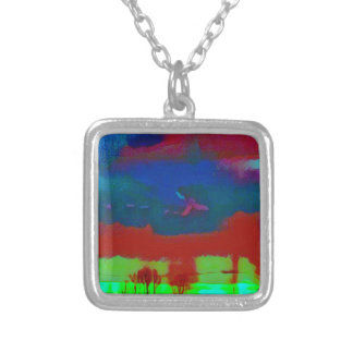 Colorful Fall Toned Abstract Horizon Sky Silver Plated Necklace