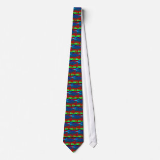 Colorful Fall Toned Abstract Horizon Sky Tie