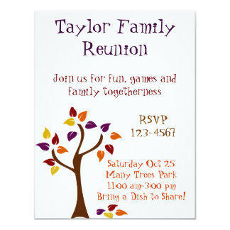 Colorful Fall Tree Personalized Announcements
