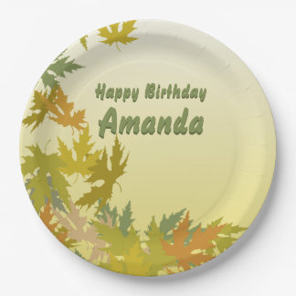 Colorful Falling Autumn Leaves Paper Plate