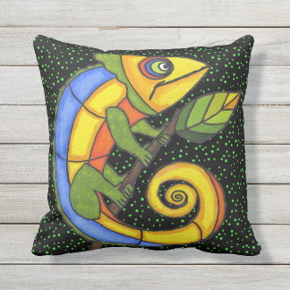 Colorful Fantasty Pop Art Lizard on Green Dots Outdoor Cushion
