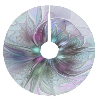 Colorful Fantasy Abstract Modern Fractal Flower Brushed Polyester Tree Skirt