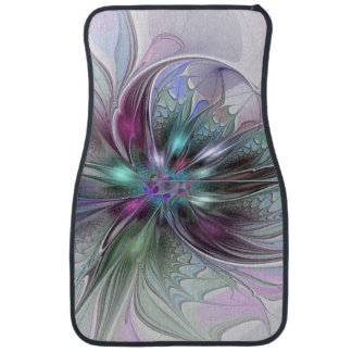 Colorful Fantasy Abstract Modern Fractal Flower Car Mat