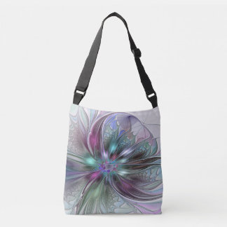 Colorful Fantasy Abstract Modern Fractal Flower Crossbody Bag
