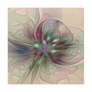 Colorful Fantasy Abstract Modern Fractal Flower Wood Wall Art