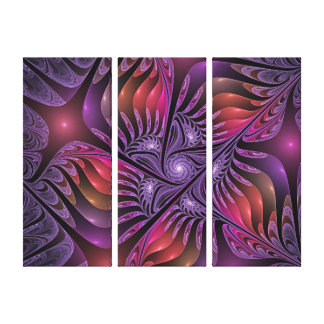 Colorful Fantasy Abstract Modern Purple Triptych Canvas Print