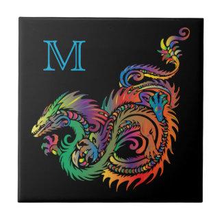 Colorful Fantasy Dragon Monogram Small Square Tile