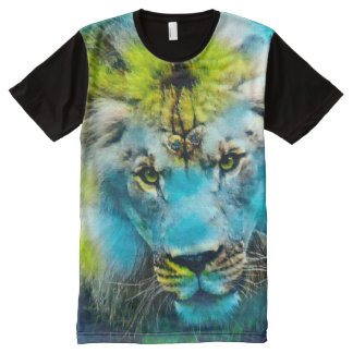 Colorful Fantasy Lion Wildlife Art All-Over Print T-Shirt