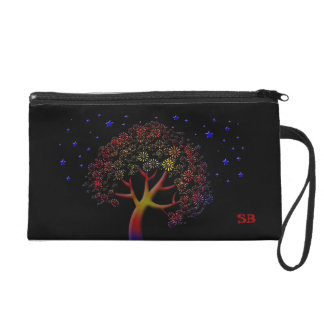 Colorful Fantasy Tree and Stars Customizable Wristlet Clutch