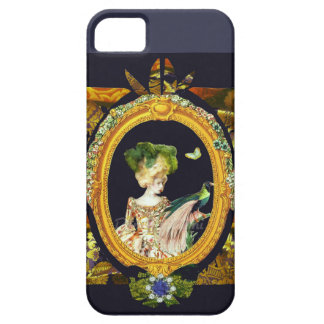 Colorful Fashion Collage,Rococo Bird, indigo. iPhone 5 Cover