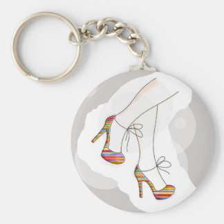 Colorful fashion shoes basic round button key ring
