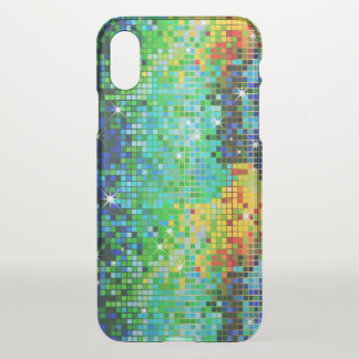 Colorful Faux Disco Glitter Geometric Pattern iPhone X Case