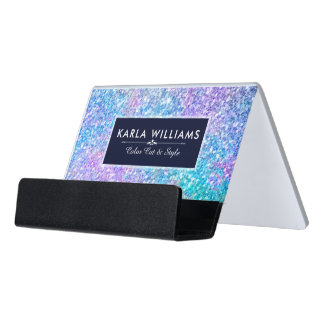 Colorful Faux Glitter Template Desk Business Card Holder