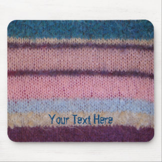colorful faux knitted stripes fun retro design mouse pad