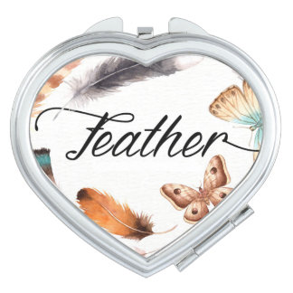 Colorful Feather Butterfly Watercolor Travel Mirror