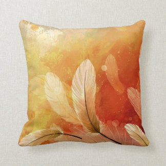 Colorful Feather Painting Throw Pillow