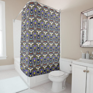 Colorful Feathery Pattern Shower Curtain