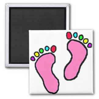 Colorful Feet Cartoon Square Magnet