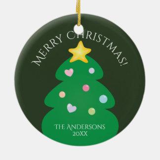 Colorful Festive Merry Christmas Tree Ceramic Ornament