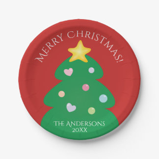 Colorful Festive Merry Christmas Tree Paper Plate