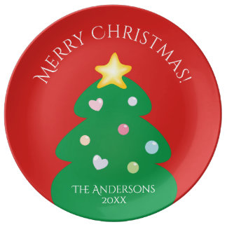 Colorful Festive Merry Christmas Tree Plate