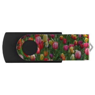 Colorful Field Of Tulips Flowers USB Flash Drive