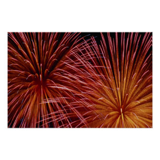 Colorful Fireworks, Canada Day Poster