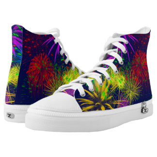 Colorful fireworks funny unique high tops