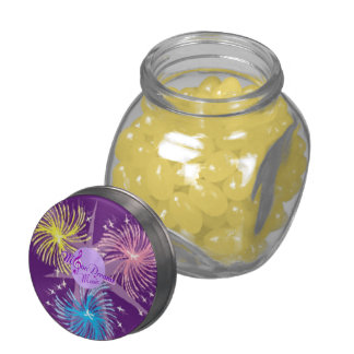Colorful Fireworks Jelly Belly Glass Jar Glass Jar