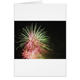 Colorful fireworks of various colors greeting card