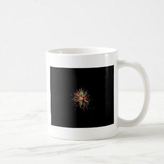 Colorful fireworks of various colors in the night coffee mug