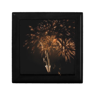 Colorful fireworks of various colors in the night gift box