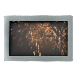 Colorful fireworks of various colors in the night rectangular belt buckles