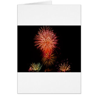 Colorful fireworks of various colors light up the greeting card