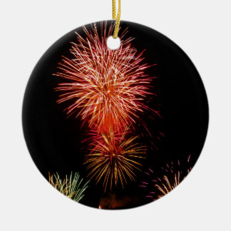 Colorful fireworks of various colors light up the ceramic ornament