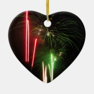 Colorful fireworks of various colors light up the ceramic heart decoration