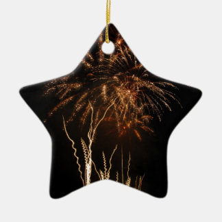 Colorful fireworks of various colors light up the ceramic star decoration