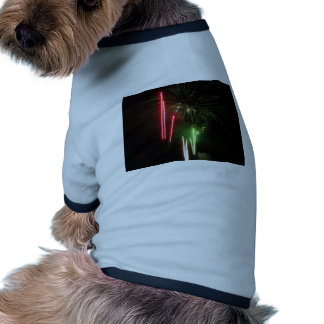 Colorful fireworks of various colors light up the ringer dog shirt