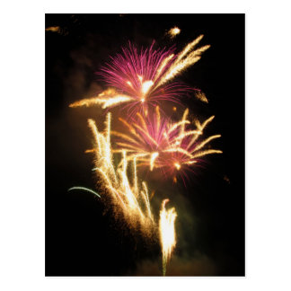Colorful fireworks of various colors light up the postcard