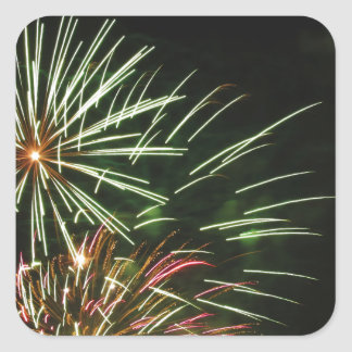 Colorful fireworks of various colors light up the square sticker